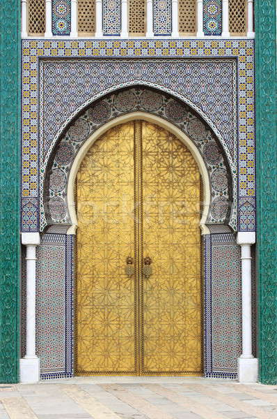 Golded door of Royal Palace in Fes Stock photo © alessandro0770