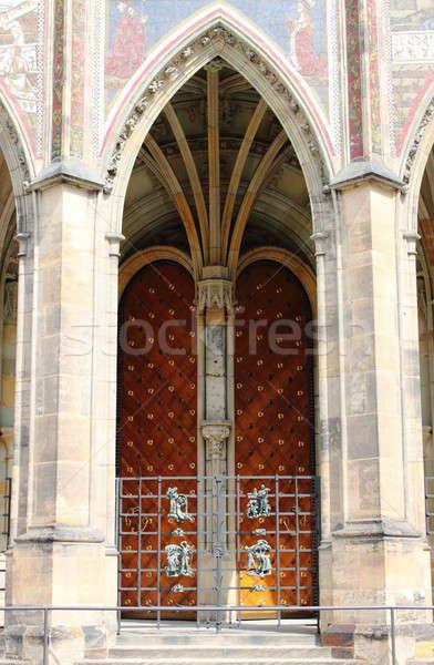 Gothic poort kathedraal Praag Tsjechische Republiek kunst Stockfoto © alessandro0770