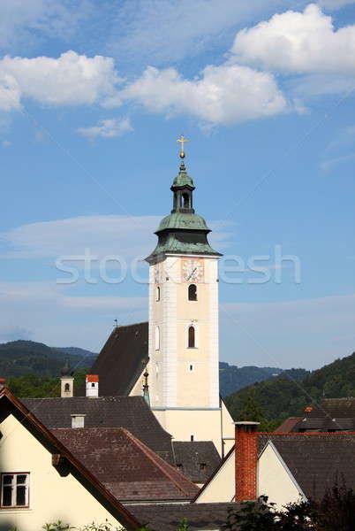 Oostenrijk bel toren kathedraal hemel boom Stockfoto © alessandro0770