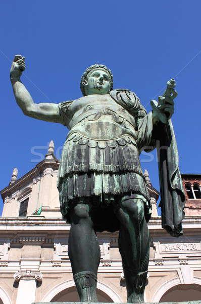 Standbeeld keizer kathedraal milaan Blauw Stockfoto © alessandro0770