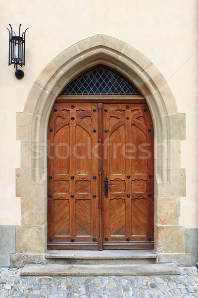 средневековых парадная дверь Прага Чешская республика здании город Сток-фото © alessandro0770