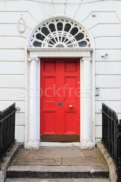 Kırmızı kapı ev duvar tuğla mimari Stok fotoğraf © alessandro0770