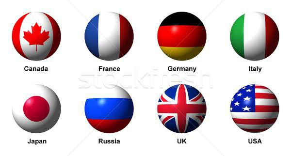 Collage of flags of the G8 countries with labels Stock photo © alessandro0770