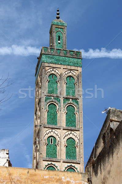 Minare cami yeşil kiremitli gökyüzü mavi Stok fotoğraf © alessandro0770