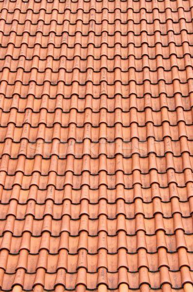 Kırmızı çatı kil fayans perspektif ev Stok fotoğraf © alessandro0770