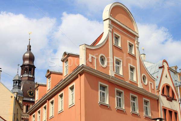 Miejskich sceniczny Ryga starówka Łotwa pomarańczowy Zdjęcia stock © alessandro0770
