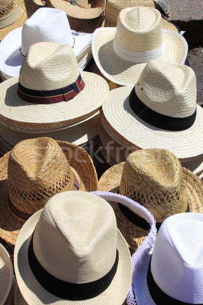Panama sapkák vásár piac divat nyár Stock fotó © alessandro0770