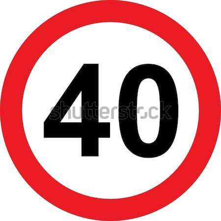 40 hızlandırmak yol işareti beyaz yol polis Stok fotoğraf © alessandro0770