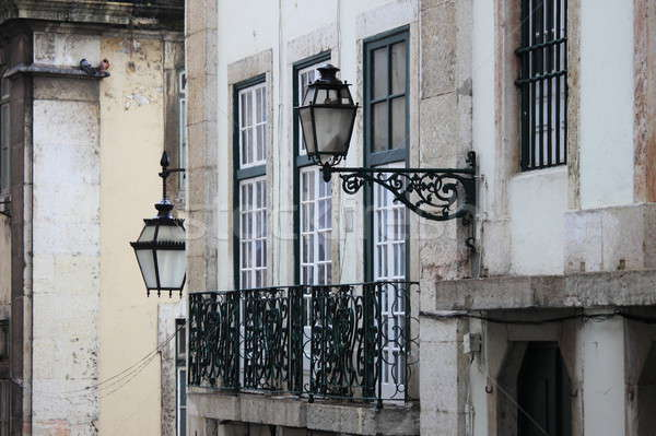 Cityscape of Lisbon with windows and street lamps Stock photo © alessandro0770