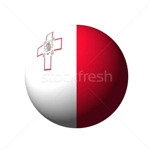 Küre bayrak Malta ulus top kırmızı Stok fotoğraf © alessandro0770