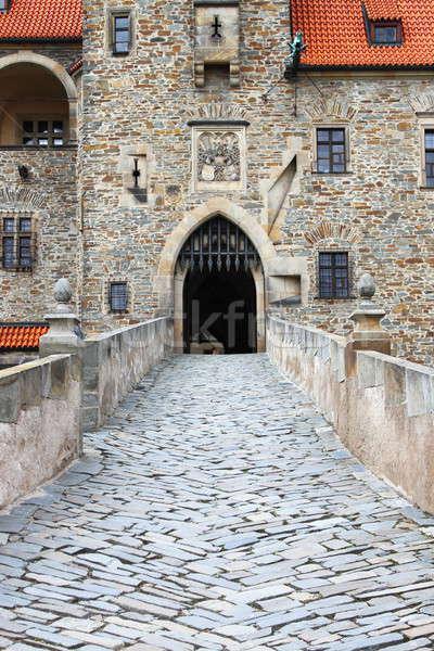 Main entrance of Bouzov castle Stock photo © alessandro0770