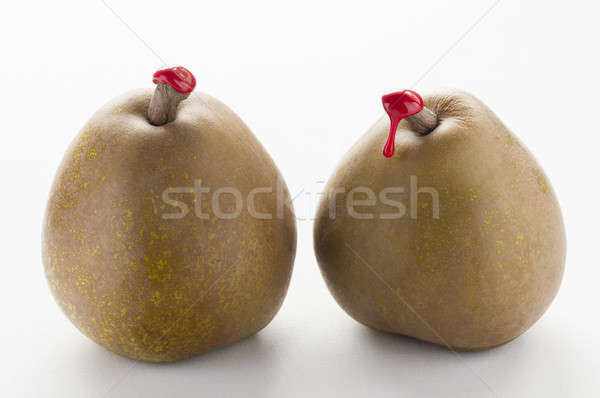 Green pears with red sealing wax Stock photo © AlessandroZocc