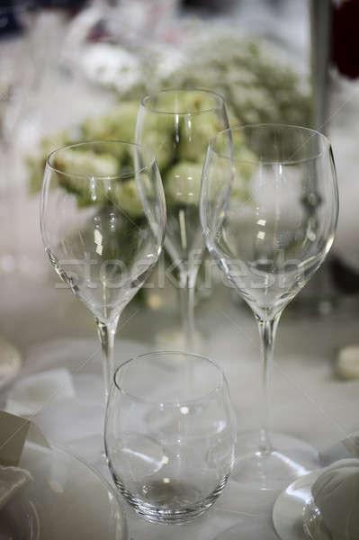Cérémonie argenterie décoration élégante table fleur Photo stock © AlessandroZocc