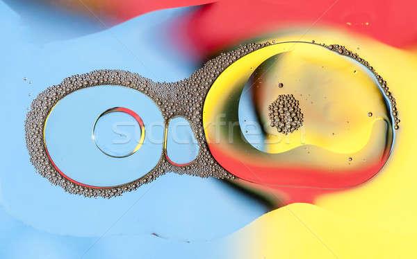 Oleju krople powierzchnia wody streszczenie świetle tle Zdjęcia stock © AlessandroZocc