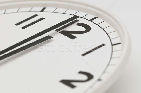 White clock with black hands showing one minute to midnight, noon Stock photo © AlessandroZocc