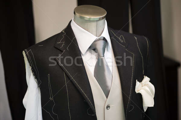 Szertartás kézzel készített öltöny férfi esküvő divat Stock fotó © AlessandroZocc