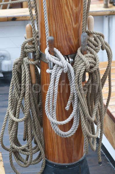 Kötelek vitorla csónak erő nyakkendő vitorlás Stock fotó © AlessandroZocc