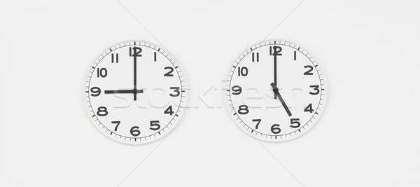 White clock with black hands showing nine to five o'clock Stock photo © AlessandroZocc