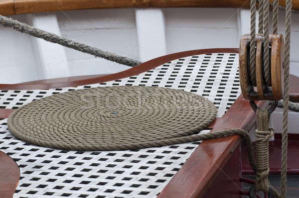 Corda velejar barco poder amarrar veleiro Foto stock © AlessandroZocc