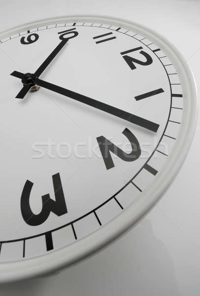 Stock photo: White clock with black hands showing eight past ten
