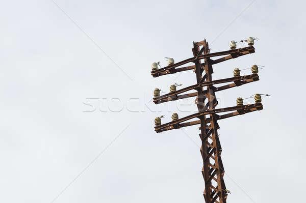 старые ржавые электрические полюс металл синий Сток-фото © AlessandroZocc
