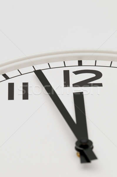 White clock with black hands showing three minutes to midnight, noon Stock photo © AlessandroZocc