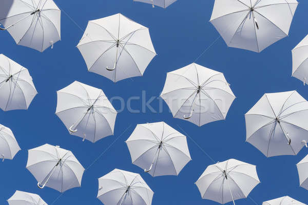White umbrellas on blue sky Stock photo © AlessandroZocc