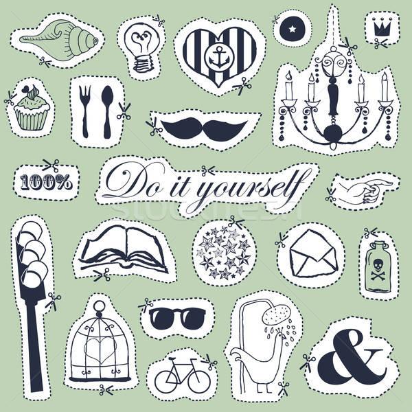 Do it yourself dessinés à la main objets vintage style Photo stock © alevtina