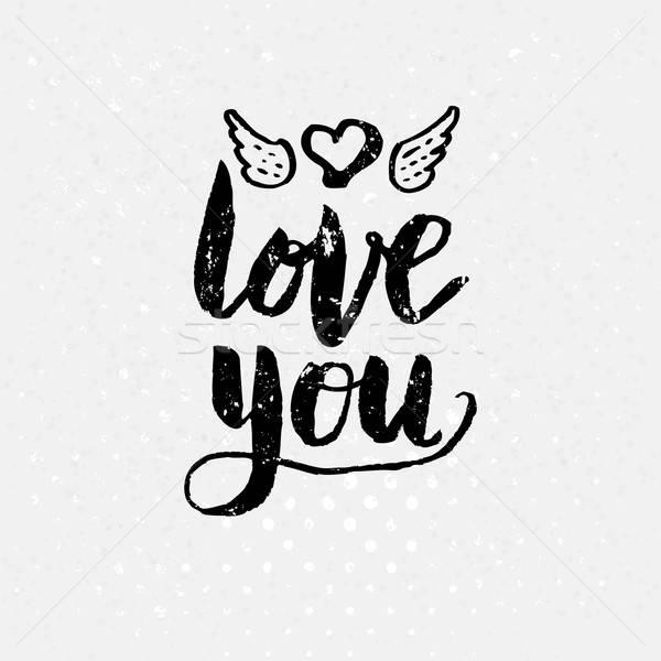 Zwart wit liefde tekst witte eenvoudige hart Stockfoto © alevtina