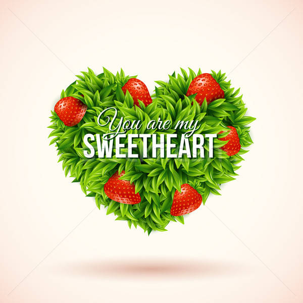 Heart shape label made of leafs. Romantic label. Vector illustra Stock photo © alevtina