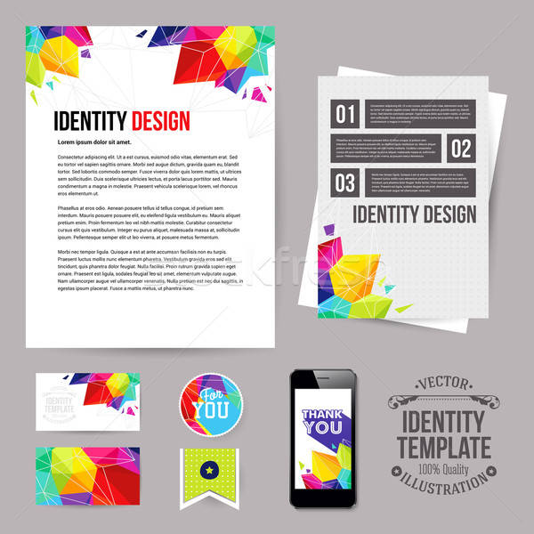 Identity design for Your business, geometric style. Set of blank Stock photo © alevtina