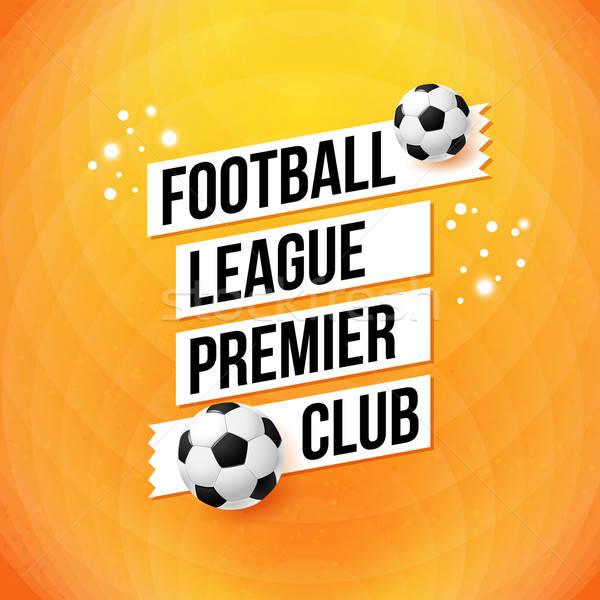Soccer football poster. Bright orange background, typography des Stock photo © alevtina