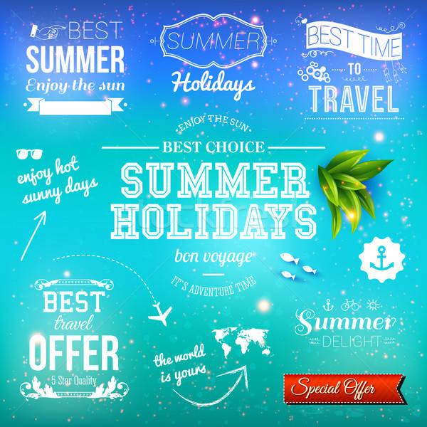 Zomer ontwerp ingesteld typografisch vakantie Stockfoto © alevtina
