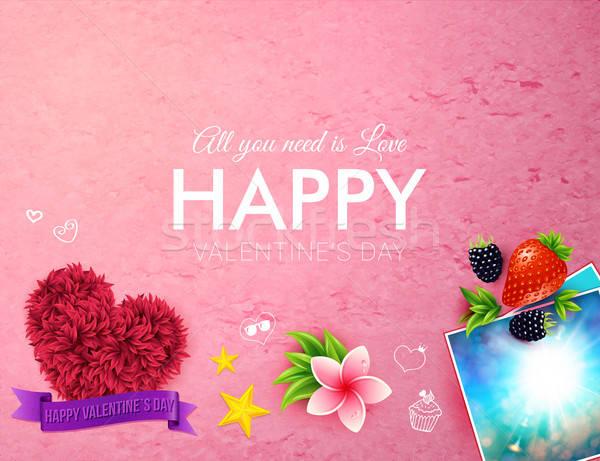 розовый счастливым карт украшенный Сток-фото © alevtina