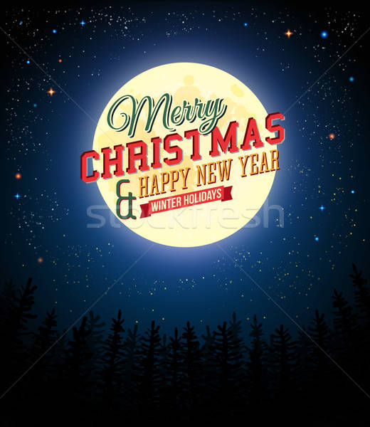 Stock photo: Merry Christmas and Happy New Year retro poster.