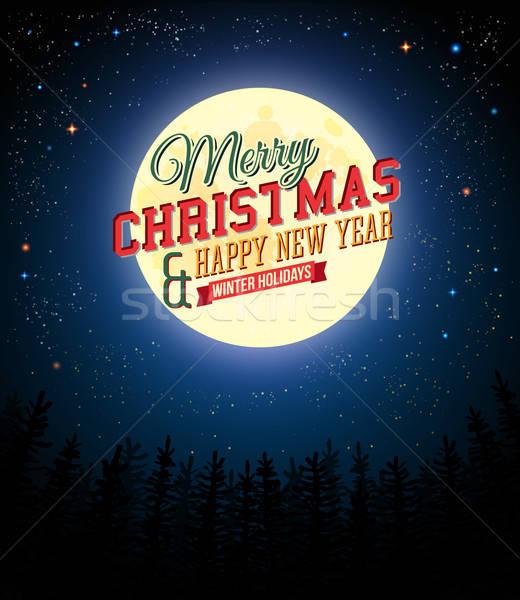陽気な クリスマス 明けましておめでとうございます レトロな ポスター 満月 ストックフォト © alevtina