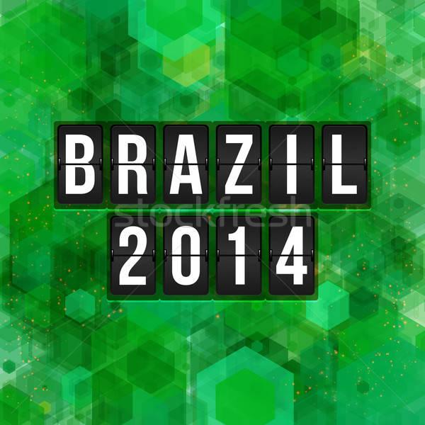 Brazil 2014 football poster. Hexagon background. Vector illustra Stock photo © alevtina