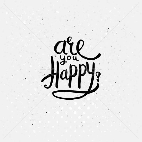черный счастливым простой текста дизайна Сток-фото © alevtina