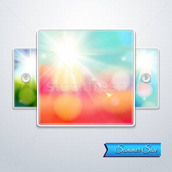 Set of bright shining sun with lens flare. Web slider stylizatio Stock photo © alevtina