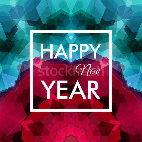 Happy New Year Card. Colorful mosaic background. Vector illustra Stock photo © alevtina