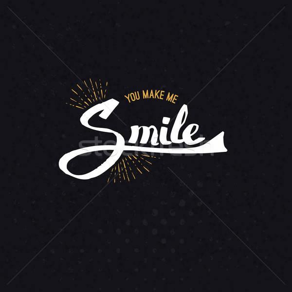Conceptual You Make Me Smile Texts on Black Stock photo © alevtina