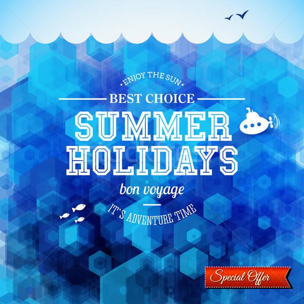Verão projeto cartaz férias hexágono Foto stock © alevtina