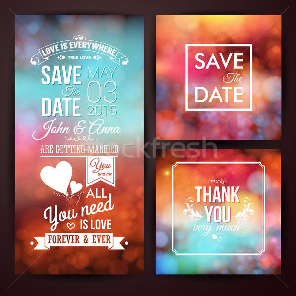 Save the date for personal holiday and thank you card. Wedding i Stock photo © alevtina