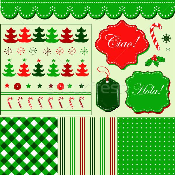 Christmas ingesteld Rood groene patroon frames Stockfoto © alevtina
