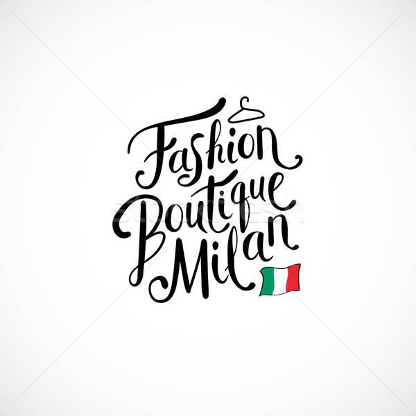 Divat butik Milánó fehér egyszerű szöveg Stock fotó © alevtina