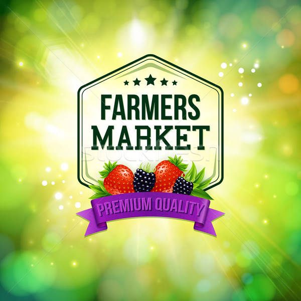 Farmers market poster. Blurred background with shining sun. Typo Stock photo © alevtina