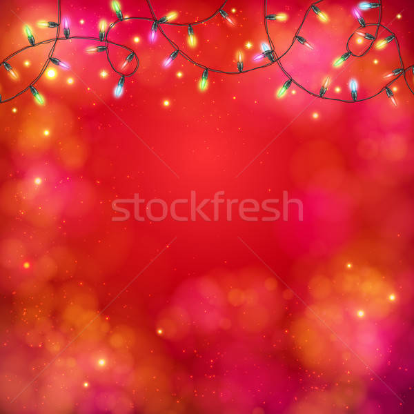 Vibrant party background with a garland of lights Stock photo © alevtina