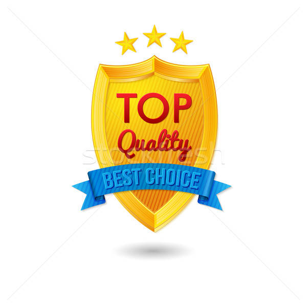 Bright label for your business offers. Realistic shield, ribbon  Stock photo © alevtina