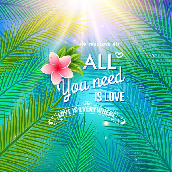 необходимость любви пальмовых листьев розовый цветок тропические Сток-фото © alevtina