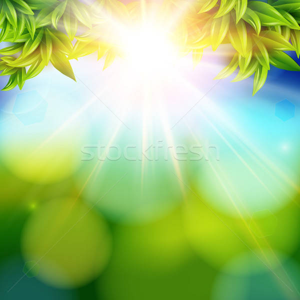 Bright shining sun with lens flare. Abstract spring background w Stock photo © alevtina